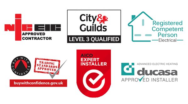 NIC IEC, City & Guilds, Registered Competent Person, Trading Standards Approved, AICO Expert Installer and Ducasa Approved Installer logos